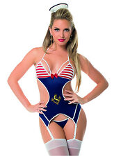 Sexy First Mate Bustier with Hose Bedroom Costume.  Fun Roll Play Lingerie!