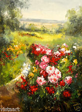 "Hand Painting Oil on Flat Canvas  36""x 48"" (3' x 4')  Flower Garden Landscape"