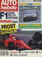 AUTO HEBDO n°695 du 27 Septembre 1989 GP PORTUGAL R21 TURBO QUADRA 605 SV24