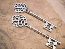 2 Large Skeleton Keys Pendants Steampunk Keys Antiqued Silver 68mm
