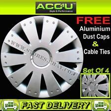 "14"" Audi VW Style Silver Car Wheel Trims Hub Cap Covers Set of 4+Ties+Valve Caps"