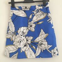NEW Ex Warehouse Blue Multi Floral Print Tulip Cropped Summer Skirt Size 8-12