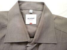 E7859 Olymp Luxor Businesshemd Kombimanschette 42 braun meliert Unifarben Neuw.