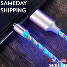 LED Glowing Bright Flowing Color Magnetic USB Data Sync + Fast Charger 6ft cord