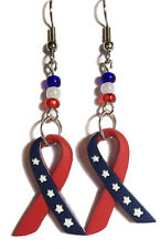 PATRIOTIC RED WHITE & BLUE RIBBON DANGLE EARRINGS (D076)