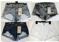 Ladies women Acid Black Blue Frayed Distressed Denim Hotpants/Shorts sz6-14