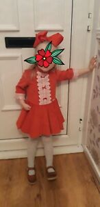 Girls miranda dress Age 3 Spanish Designer Red Summer Holiday Occasion