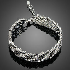 18K Gold GP Made With Swarovski Crystal Elements Chain Cubic Bangle Bracelet