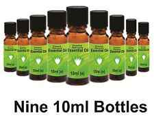 ESSENTIAL OILS - 9x10ml - Popular Aromatherapy Set 2- 100% Pure in Glass Bottles