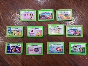 Leap Frog Explorer Leapster LeapPad Game Lot - Disney Princess Cars Dora Fairies