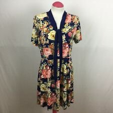 V By Very Ladies Navy Blue Multicoloured Rose Print  Vintage Style Dress Sz 14