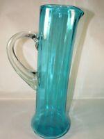 "MCM Blue Controlled Bubble BISCHOFF Art Glass Pitcher,14"" t. Pontil Base"