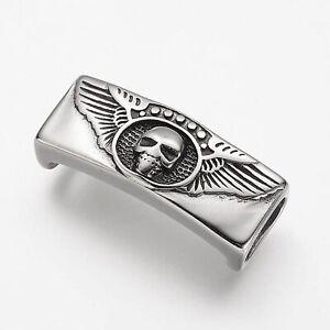 1 x Edelstahl Emblem Rechteck Totenkopf, Antik Silber für Paracord Armband Skull