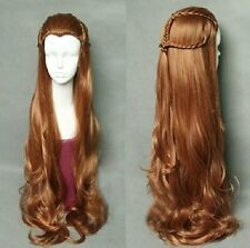 The Hobbit Elf Tauriel Wig Synthetic Hair Costume Long brown wavy cosplay wigs