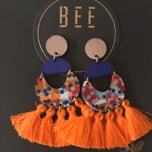 Bee Abbott Drop Earrings Neon Orange Tassels by beetwomey