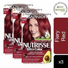 3 Pack Garnier Nutrisse Hair Dye Ultra Color 6.60 Fiery Red Permanent Dye