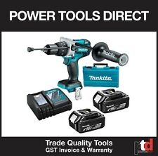 NEW MAKITA 18V CORDLESS BRUSHLESS DHP481Z HAMMER DRILL DRIVER KIT 5AMP BATTERIES