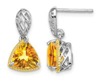 2.90 Carat (ctw) Citrine Dangle Earrings in Sterling Silver