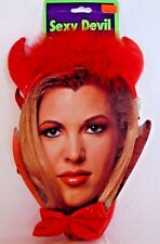 Red Leather Devil Horns Headband & Tail Set Costume Halloween Party Accessory