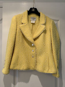 Vintage 97P Chanel Yellow Jacket And Skirt Suit FR 42 Princess Diana