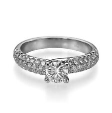 1 CARAT ROUND CUT CERTIFIED ACCENTED DIAMOND 14K WHITE GOLD LADIES PROMISE RING