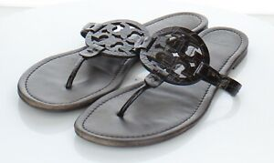B43 $198 Women's Sz 12 M Tory Burch Miller Leather Logo Flat Sandals