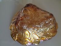 IRIDESCENT MARIGOLD GRAPE LEAF GLASS BOWL,INDIANA GLASS ,CARNIVAL GOLD VINTAGE