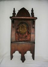 Antique Gothic Carved & Sculpted German Black Forest Wall Pipe Holder