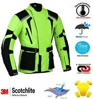Green Hivis Motorbike Jacket Waterproof  Motorcycle Armour protector