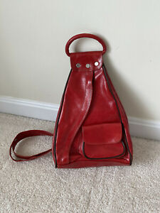 NEW Unique Red Leather Backpack / Crossbody Bag  2 in 1