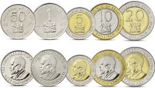 KENYA 5 COINS SET 50 CENTS, 1 - 20 SHILLINGS BIMETAL 2005 2010 UNC