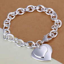 925 Silver Plated Double Heart Bracelet Bangle Women Fashion Jewellry UK