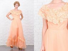 Vintage 70s Peach Dress Hippie Boho Victorian Lace XS Floral
