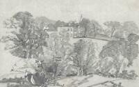 COWS & MANOR HOUSE IN LANDSCAPE Antique Pencil Drawing c1835 - 19TH CENTURY