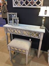 Hampton Washed Ash Natural Wooden Mirrored 2 Drawer Console Dressing Table