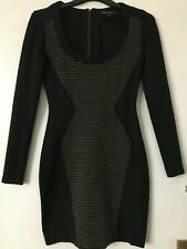 French Connection Black & Gold Silhouette Illusion Dress Size 10