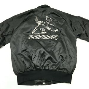 VINTAGE Phoenix Roadrunners Jacket Size Medium Satin Bomber Snap Barbara 1980s