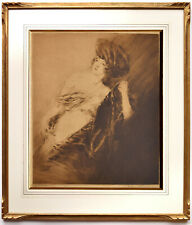 Adrien Etienne/ Drian - c1920 Drypoint Etching Pencil Signed, Antique Gilt Frame