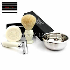 5 PC DOUBLE EDGE SAFETY RAZOR SHAVING SET AND Badger Hair Shaving Brush GIFT SET