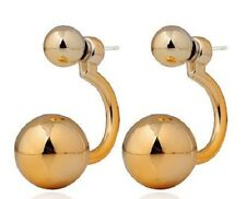 LARGE PALE GOLD DOUBLE BALL STUD EARRINGS. 15MM
