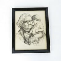 Vtg Hand Signed Numbered Pen Ink Drawing Lithograph Grandmother & Child
