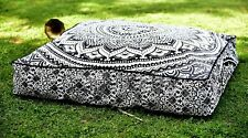 """Indian Square Black Gray 35"""" Square Cotton Cushion Cover Floor Pillow Case Gift"""