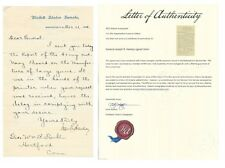 CIVIL WAR GENERAL GEN. JOSEPH R. HAWLEY SIGNED LETTER 1884 HISTORIC AUTOGRAPHS