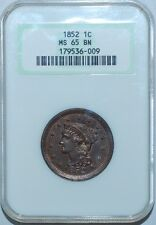1852 NGC MS65BN Brown Braided Hair Large Cent