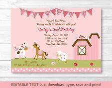 Pink Farm Animals Printable Birthday Invitation Editable PDF