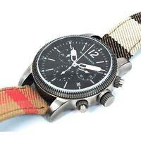 NEW Burberry Men's Utilitarian Nova Check Leather Strap Chronograph Watch BU7815
