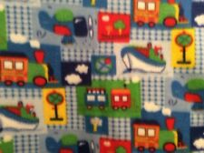 "train ship boat plane airplane fleece fabric on blue, 60"" wide, sold BTY"