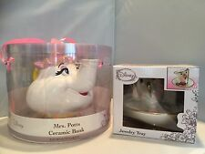 Disney  Beauty And The Beast Ceramic Chip Jewelry Dish and Mrs Potts Bank Set