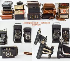 Lot of 7 Antique Folding Cameras in Original Boxes or Leather Cases - KV48