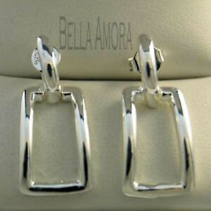 Stunning 925 Sterling Silver Square Drop Earrings - New - UK